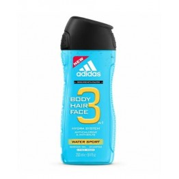 Adidas 3IN1 Body Hair Face Water Sport Shower Gel Shampoo 250ml