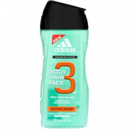 Adidas 3IN1 Body Hair Face Active Start Shower Gel Shampoo 250ml