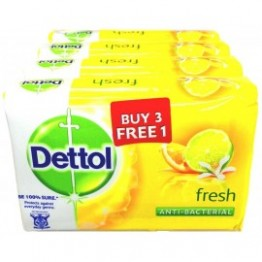Dettol Bar Soap Fresh 105g 3 Free 1