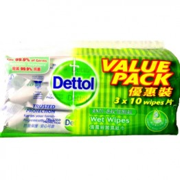Dettol Anti-baterial Wet Wipes 3x10's