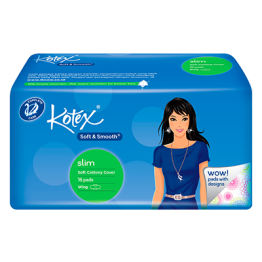 Kotex Soft & Smooth Soft, Soft Cottony Cover, 16 pads, Wing